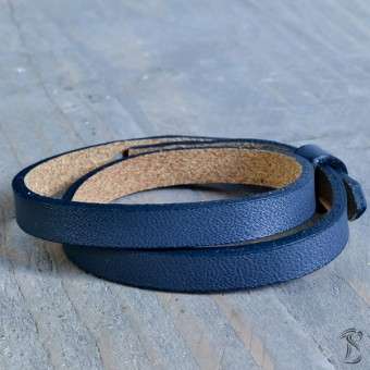 Cuoio armband crown blue (dubbel)
