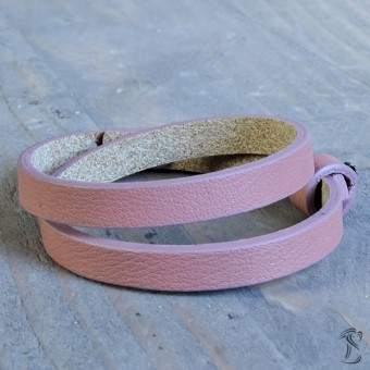 Cuoio armband vintage pink (dubbel)